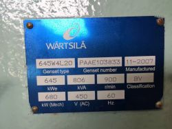 WARTSILA 645W4L20D 645KW 900RPM 60HZ 450V X 3 2007 SURPLUS NEW